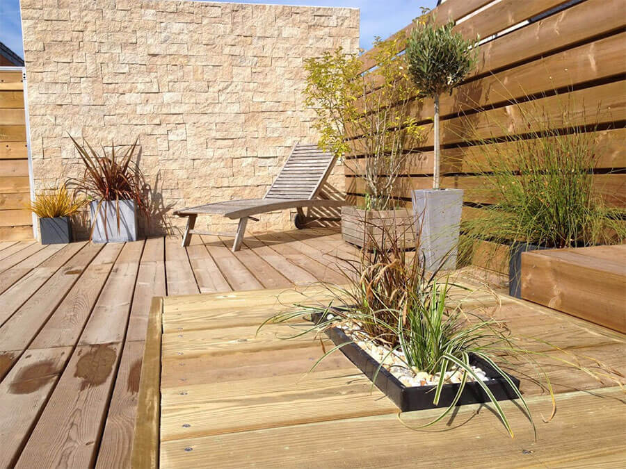 jardiniere en bois pour terrasse. Black Bedroom Furniture Sets. Home Design Ideas